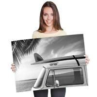 A1 - Beach Camper Van Surf Bus 60X90cm180gsm Print BW #40884