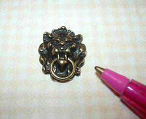 Miniature Dramatic Antique Brass Lion's Head Door Knocker:  DOLLHOUSE 1:12 Scale