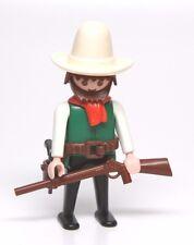 Playmobil Figure Western Cowboy w/ Tall Hat Red Scarf Gun Rifle 3304