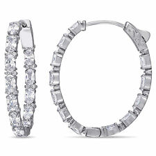 Amour Sterling Silver Cubic Zirconia Inside-Outside Hoop Earrings