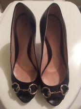 Gucci Hollywood Black Leather Horsebit Peep Toe Pumps SZ 38 Gisele Heels $625
