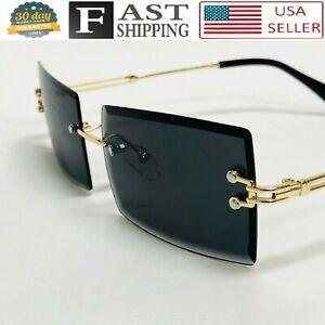 Black Tint Mens Sunglasses Rimless Square Gold Frame Rectangular Hip Hop Fashion