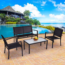 4 PCS Outdoor Patio Furniture Set Sofa Loveseat Tee Table Garden Yard Pool Side