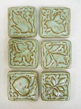 LEAF TILES Handmade Ceramic Stoneware Art, Craft Tiles, TURQUOISE STONE Set of 6