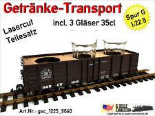 Spur G Getränke Transport Einsatz + 3x 35cl Gläser - Lasercut 1:22,5 f. LGB 4073