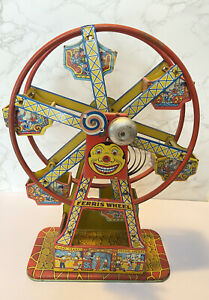 Vintage J Chein Hercules Mechanical Ferris Wheel Litho Tin Carnival Toy
