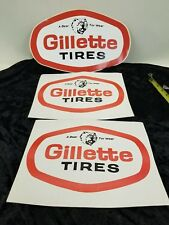 3 Vintage Gillette Tire Sticker with Grizzly Bear Original