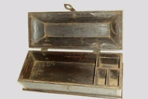 OLD WOODEN & Brass INLAY INDIAN MUGHAL HANDCRAFTED PEN /  PENCIL BOX 4 COMPAR