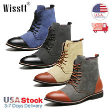2020 Mens two-tone Leather Martin Boots Dress Shoes Casual Chelsea Ankle Boots