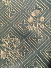 Fortuny fabric pieces, Blue Cotton with White Print, Unused