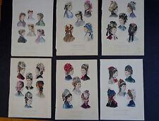 6 Antique Plates from La Mode Illustrée feat. Hat Fashions (1868-76) INV 2019