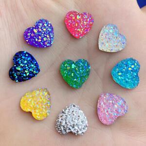 12mm Glitters AB Color Mineral Surface Heart Resin Rhinestone Flatback DIY