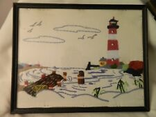 VINTAGE FRAMED LIGHTHOUSE NEEDLEPOINT - 198 - MEXICO - PRETTY