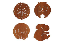 4 x Australian animal coasters Wooden MM Koala Platypus Wombat Echidna