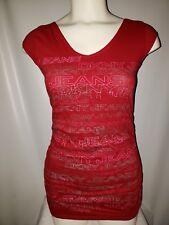 Women's DKNY Jeans Red Sleeveless Monogram T-Shirt Size Small