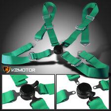 Universal JDM Green 4 Point Cam Lock Racing Drift Safety Seat Belt Harness