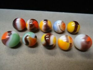 10 Vitro Agate Black Line Marbles  9/16 to 5/8   Very Good  To  Mint +   Lot # D