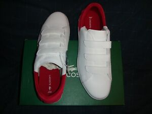 Lacoste Carnaby Evo Strap 318 1  Men  Sneakers White / Red  Leather  11.5US  NIB