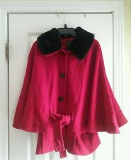 Regent Park women's wool blend cape red black faux fur collar