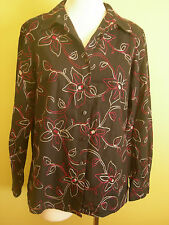 Ladies Womens Shirt Long Sleeve Button Up Blouse Top Black Linen MIllers Size 12