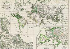 Vieja mapa mundo español rico Empire mapa Velho Português-Espanhol 1846