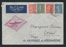 1937 AIR-FRANCE et AEROMARITIME cover - DAHOMEY and TOGO