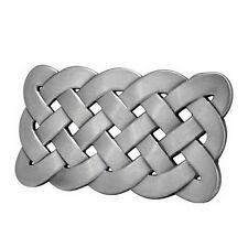 SILVER Irish Celtic Knot Mesh Design Belt Buckle Brush Medieval Metal Hip Cool