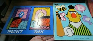 """Lot of 2 Sesame Street Bert's """"B"""" & Ernie Night and Day Wood Puzzles 1973/1974"""