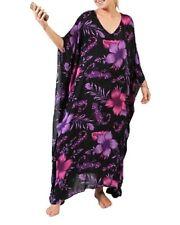 Plus Size Long  Blue Floral Polynesian Maxi Kaftan -Dress Size 16-18-20-22-24-26