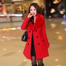 Womens Ladies Winter Warm Long Coat Wool Jacket Parka Outwear Fleece Overcoat