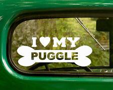 2 I Love My Puggle Dog Breed Stickers Decal Car Bumper Truck Rv Laptop Window
