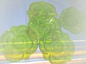 6 x DDR Dessertteller Kuchenteller Glas gruen  Durchmesser 18 cm
