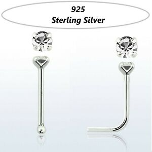 Real 925 Sterling Silver Pin Nose Piercing Stud with round prong crystal