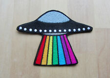 Rainbow UFO Space Alien Celestial Embroidered Iron On Patch, LGBT Pride Patch