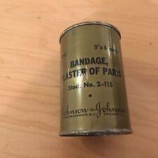 "ww2, 1945, bandage plaster of paris  can. 3""x5 yards,nos,johnson&johnson"