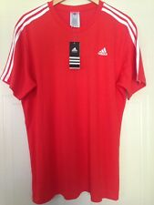 Adidas Performance Climalite Essentials Red 3 Stripe Team Football T-Shirt L 48