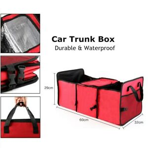 Car Trunk Organizer Durable Storage SUV Cargo Organizer Adjustable Red Foldable