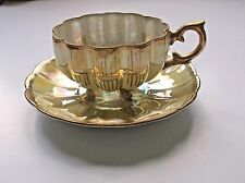 Vintage Royal Sealy Tea Cup and Saucer Yellow Gold Scalloped Footed Cup