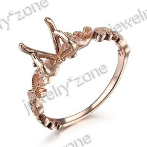 10MM Round Semi Mount Diamond Filigree Solid 10K Rose Gold Wedding Fine Ring