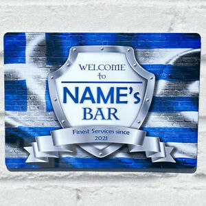 Personalised Greece Greek Flag Sign Metal Sign A4 - A5 size Bar Add Name