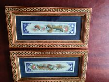 INDIAN/PERSIAN HAND PAINTED PICTURES X 2 WITH BIRDS FRAMED