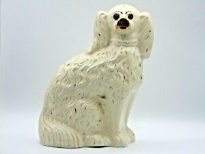 Late Victorian Staffordshire Pottery Dog, With Gilding and Glass Eyes (AP157G)
