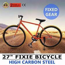 """27"""" Bicicleta Fixie Fixed Gear Single Speed Urbano Alto Carbono Naranja GOOD"""