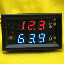 Dual Display 100A Amp & Voltmeter 12V 24V DC Volt Current Solar Meter 100V 5wire