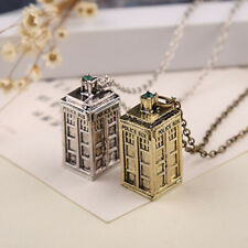 3D Doctor Who TARDIS Police Box Pewter Tall Long Chain Pendant Necklace