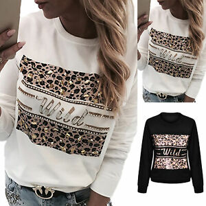 Womens Leopard Print Long Sleeve Blouse Tops Ladies Pullover Casual T Shirt Size