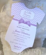SET OF 10 Baby Girl Purple Chevron And Bow Baby Shower Invitation