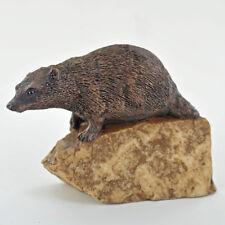 Wildlife Bronze Badger on Stone Sculpture Ornament Figurine 07040