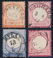 DR 1872, Brustschilde, Partie ex MiNr.3-9, sauber gestempelt, Mi. 105,-