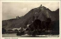 Drachenfels und Drachenburg Königswinter Postkarte ~1930 Blick über den Rhein